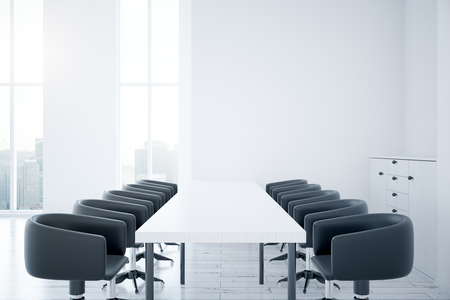 work area: Side view of modern room interior with long white table, chairs and windows with city view. 3D Rendering