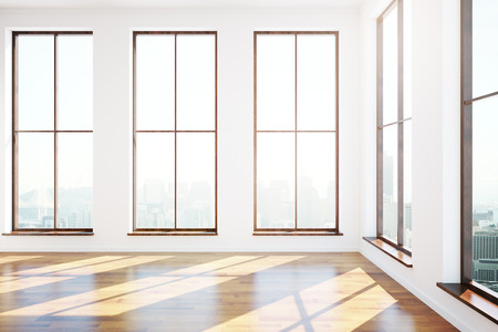 round window: Modern interior with numerous windows, city view and sunlight. 3D Rendering