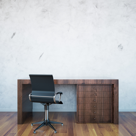 comfort classroom: Dark wooden desktop and armchair on blank concrete wall background. Mock up, 3D Rendering