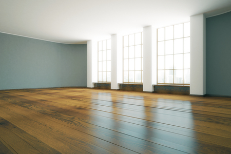 unfurnished: Modern unfurnished interior with wooden floor and windows with city view. 3D Rendering