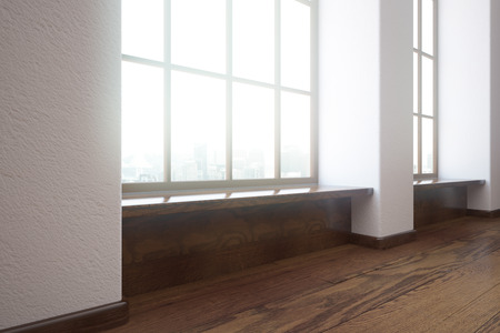unfurnished: Modern unfurnished interior with wooden floor and windows with city view. Side view, 3D Rendering
