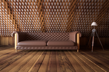 architecture design: Front view of loft wooden interior with brown leather sofa, patterned wall and floor lamp. 3D Renderinf Stock Photo