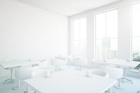 White cafe interior with several tables, seats, coffee cups and windows with city view. 3D rendering