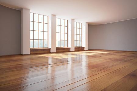 finestra: Moderno design degli interni non arredato con pavimento in legno e finestre con vista sulla città. Rendering 3D Archivio Fotografico