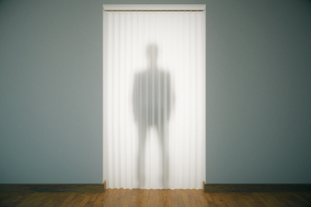 translucent: Standing man silhouette behind curtains in modern unfurnished interior. 3D Rendering