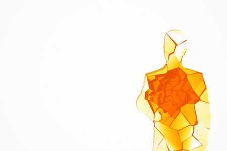 shattered glass: Abstract shattered amber glass human figure on white background with copy space. 3D Rendering