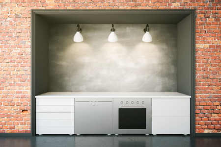 domestic room: White kitchen furniture with blank chalkboard in red brick interior. Front view, Mock up, 3D Rendering Stock Photo