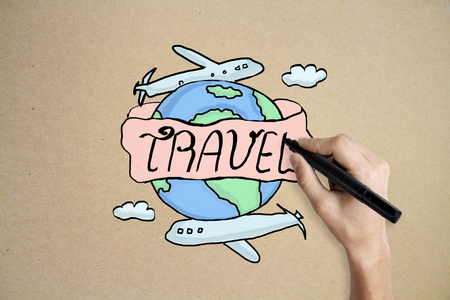 Hand drawing creative travel sketch on beige hackground. Traveling concept