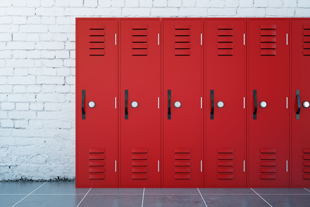 Close up of red lockers in school corridor with white brick walls and tile floor. 3D Rendering