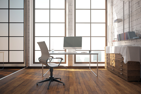 office windows: Modern office interior with workplace, cupboard with books, wooden floor and windows with city view. 3D rendering