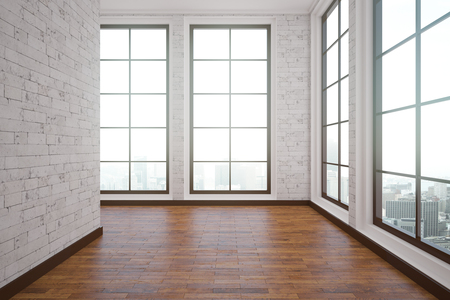 unfurnished: Unfurnished interior with wooden floor, white brick walls and city view. 3D Rendering