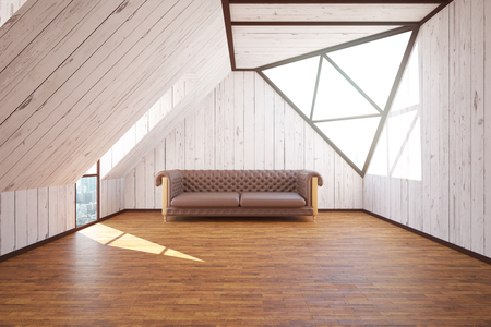 loft interior: Loft interior with brown leather sofa and abstract windows with city view. 3D Rendering