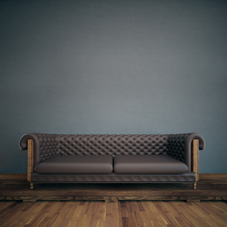 leather sofa: Front view of interior with empty grey concrete wall, wooden floor and brown leather sofa. Mock up, 3D Rendering