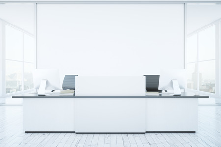 reception desk: White reception desk and blank banner in interior with city view. Mock up, 3D Rendering