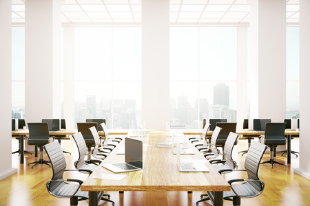 commercial building: Contemporary conference room interior with equipment and city view. 3D Rendering Stock Photo