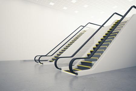 Zijaanzicht van twee roltrappen in de concrete ruimte met lege muur. Mock-up, 3D-rendering