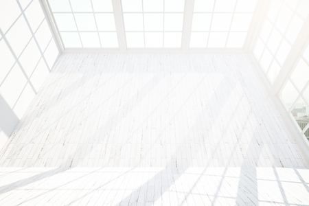 loft interior: Front view of blank white wooden wall in loft interior with windowsm city view and sunlight. Mock up, 3D Rendering