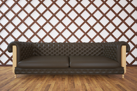 interior wall: Interior with brown couch, wooden floor and patterned wall. 3D Rendering