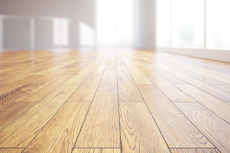 Closeup of light wooden floor in bright room interior. 3D Rendering Banco de Imagens