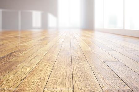 suelos: Primer plano de suelo de madera clara en el interior habitación iluminada. Representación 3D