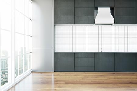 Creatieve eigentijdse keuken interieur met houten vloer en een panoramisch uitzicht op de stad. 3D Rendering