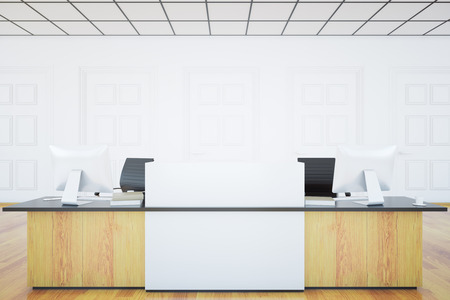 front desk: Front view of light wooden reception desk with blank banner in white room interior. Mock up, 3D Rendering