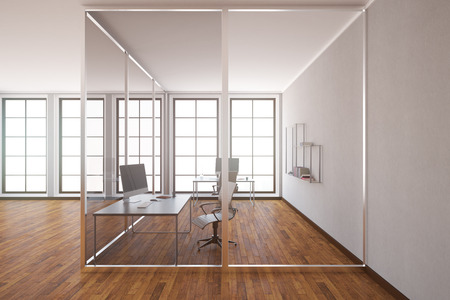 glass office: Modern glass box office interior with wooden floor, concrete walls and windows. Side view, 3D Rendering Stock Photo