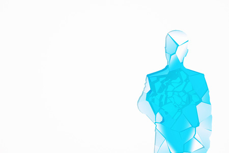 crack up: Abstract shattered blue glass human figure on white background with copy space. 3D Rendering