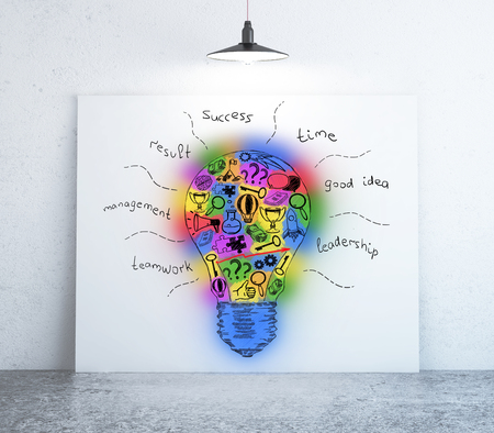 idea sketch: Room with colorful light bulb sketch on whiteboard. Creative idea concept. 3D Rendering Stock Photo