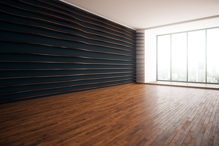 dark room: Modern interior with patterned walls, wooden floor and floor-to-ceiling windows with city view. Side view, 3D Rendering Stock Photo