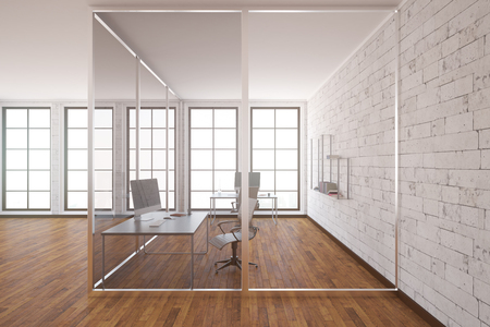 clean office: Modern glass box office interior with wooden floor, white brick walls and windows. Side view, 3D Rendering