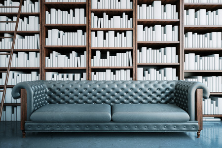 library shelf: Front view of grey leather sofa on bookshelves and ladder background. Library concept. 3D Rendering Stock Photo