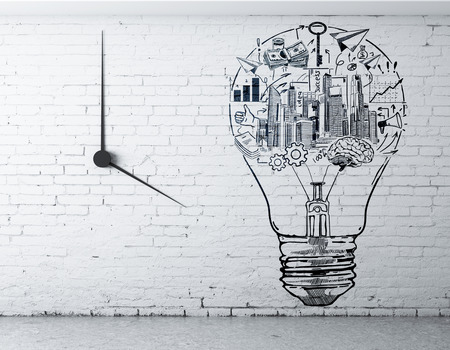 idea sketch: Front view of interior with creative business sketch inside light bulb on white brick wall with clock. Success idea concept. 3D Rendering
