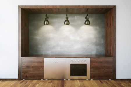 simple life: Wooden kitchen furniture with blank chalkboard in concrete interior. Front view, Mock up, 3D Rendering