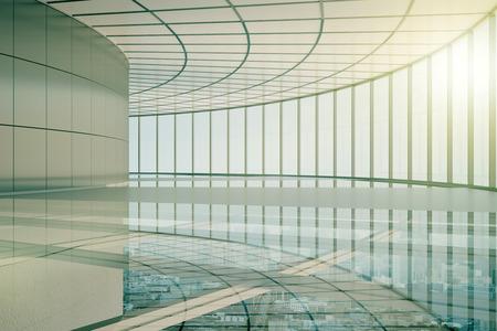Leeg transparant glasbinnenland met stadsmening. 3D-weergave Stockfoto