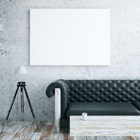 Vista frontal del interior con cartelera en blanco, sofá de cuero, lámpara de pie y mesa de centro de madera. Maqueta, renderizado 3D