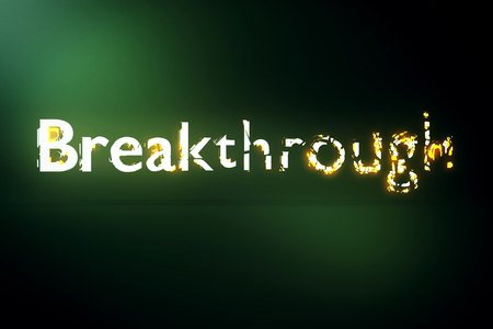 voluminous: Breakthrough concept. Creative voluminous writing on green background. 3D Rendering Stock Photo