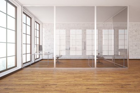 office windows: Modern glass box office interior with wooden floor, white brick walls and windows. 3D Rendering