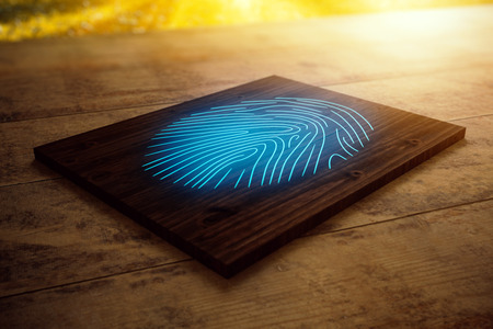 Close up of wooden board with blue fingerprint placed on desktop. Security concept. 3D Rendering Stock Photo