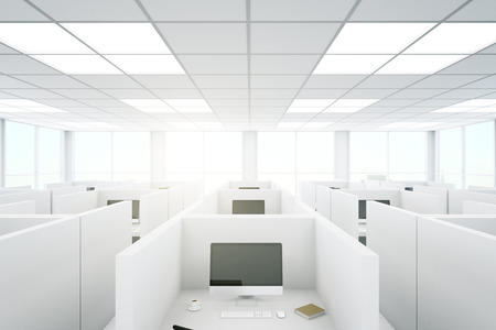 partitions: Modern coworking office interior with partitions and computers. 3D Rendering Stock Photo