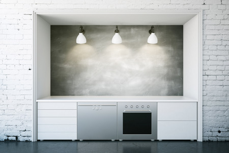 domestic room: White kitchen furniture with blank chalkboard in brick interior. Front view, Mock up, 3D Rendering Stock Photo