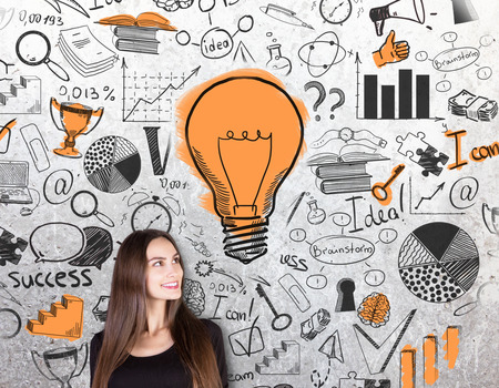 idea sketch: Gorgeous caucasian female on concrete background with creative success sketch and light bulb. Business idea concept