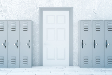 corridor: School corridor interior with light lockers and white door on concrete wall background. 3D Rendering