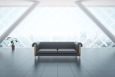 brown leather: Front view of modern interior with brown leather couch, tile floor, plant and city view. 3D Rendering Stock Photo