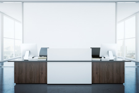 superficie: Modern reception desk and blank banner in interior with city view. Mock up, 3D Rendering Foto de archivo