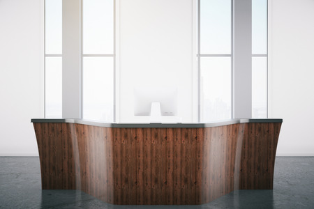 reception desk: Modern wooden reception desk. 3D Rendering