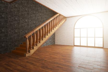 Vista lateral del lujoso interior con piso de madera y escaleras, pared de ladrillo negro y una ventana con la luz del día. Representación 3D Foto de archivo