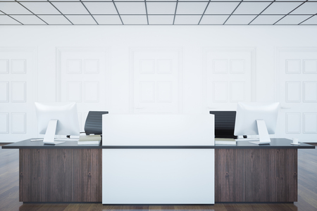 front desk: Front view of wooden reception desk with blank banner in white room interior. Mock up, 3D Rendering