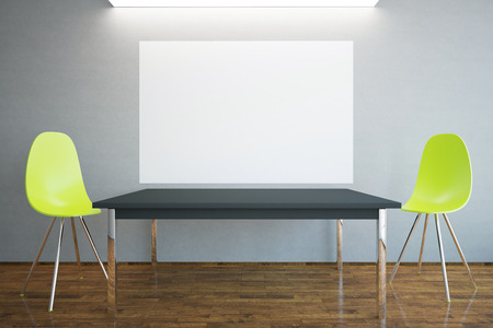 ceiling light: Front view of blank billboard, table and two bright chairs in interior with wooden floor, concrete walls and ceiling light. Mock up, 3D Rendering Stock Photo