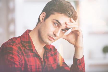uomo rosso: Closeup portrait of handsome european man in casual bright red shirt